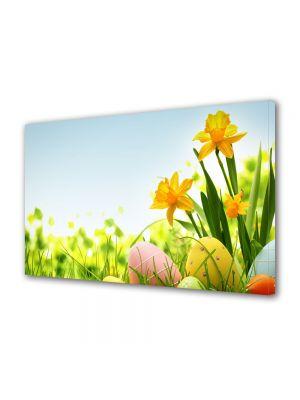 Tablou Canvas Sarbatori Paste Soare, flori si oua de Paste