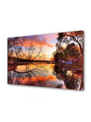 Tablou Canvas Luminos in intuneric VarioView LED Peisaj Toamna pe lac