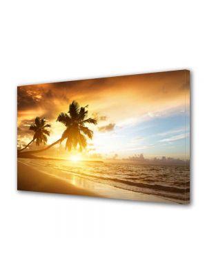 Tablou Canvas Luminos in intuneric VarioView LED Peisaj Palmieri pe plaja