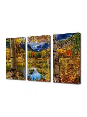 Set Tablouri Multicanvas 3 Piese Peisaj Toamna la munte
