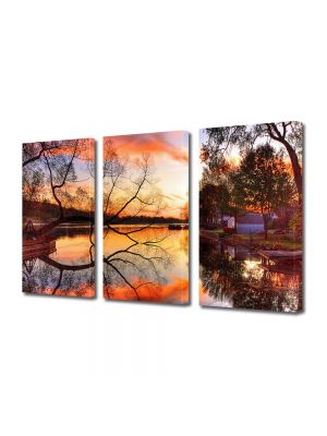 Set Tablouri Multicanvas 3 Piese Peisaj Toamna pe lac