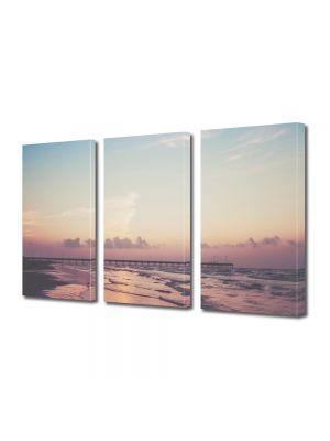 Set Tablouri Multicanvas 3 Piese Peisaj Ponton pe ocean