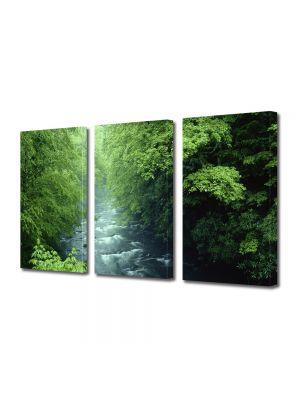 Set Tablouri Multicanvas 3 Piese Peisaj Rau la munte