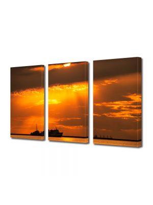 Set Tablouri Multicanvas 3 Piese Peisaj Vapoare