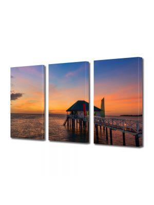 Set Tablouri Multicanvas 3 Piese Peisaj Casa pe ponton