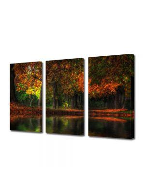 Set Tablouri Multicanvas 3 Piese Peisaj Toamna noaptea