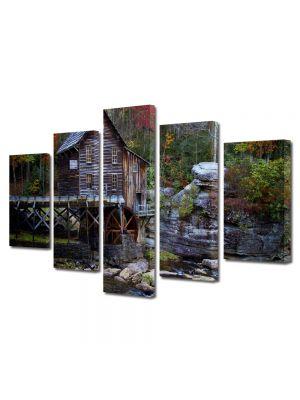 Set Tablouri Multicanvas 5 Piese Peisaj Moara de apa