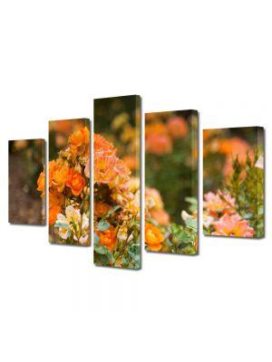 Set Tablouri Multicanvas 5 Piese Peisaj Trandafiri salbatici