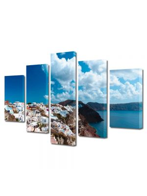 Set Tablouri Multicanvas 5 Piese Peisaj Grecia