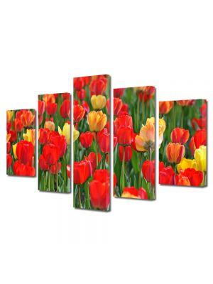 Set Tablouri Multicanvas 5 Piese Peisaj Lalele rosii si galbene