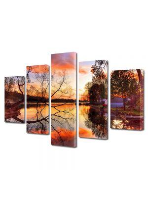 Set Tablouri Multicanvas 5 Piese Peisaj Toamna pe lac 70 x 125 cm - 44% reducere