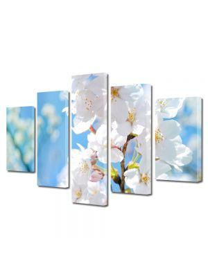 Set Tablouri Multicanvas 5 Piese Peisaj Floare cu nuante Alb-albaste
