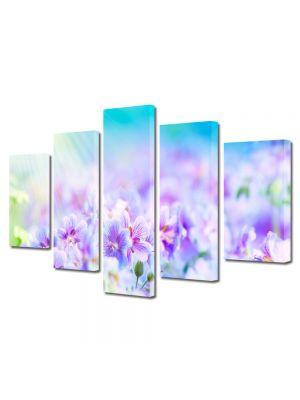 Set Tablouri Multicanvas 5 Piese Peisaj Flori violet