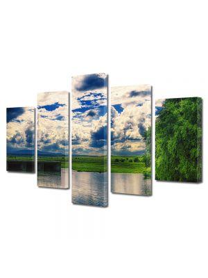Set Tablouri Canvas 5 Piese Peisaj Oglinda