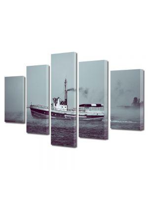 Set Tablouri Canvas 5 Piese Peisaj Barca