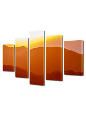 Set Tablouri Canvas 5 Piese Peisaj Siluete de dealuri
