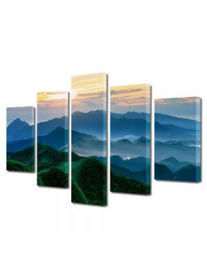 Set Tablouri Canvas 5 Piese Peisaj Munti verzi