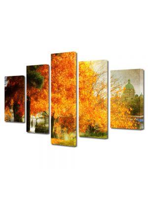 Set Tablouri Multicanvas 5 Piese Peisaj Copac galben