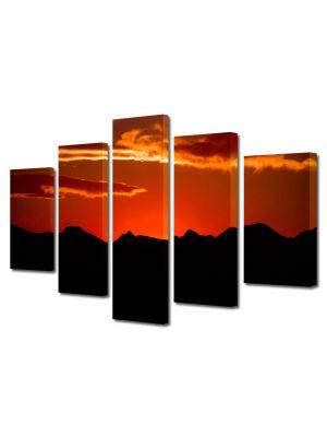 Set Tablouri Canvas 5 Piese Peisaj Rosu si negru