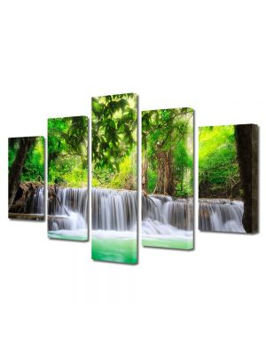 Set Tablouri Canvas 5 Piese Peisaj Cascade multiple 70 x125 cm - 44% reducere