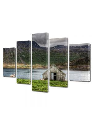 Set Tablouri Multicanvas 5 Piese Peisaj Cabanuta