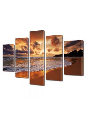 Set Tablouri Multicanvas 5 Piese Peisaj Valuri 70 x 125 cm - 44% reducere