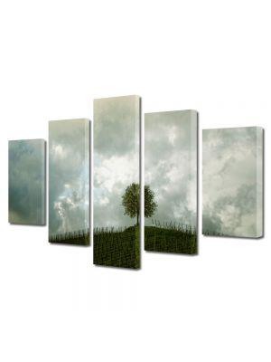 Set Tablouri Multicanvas 5 Piese Peisaj Copac si nori