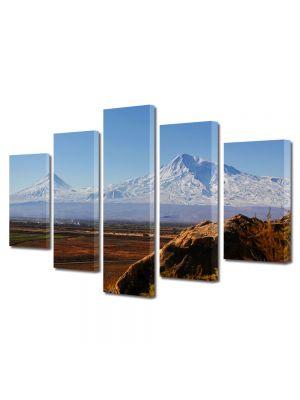 Set Tablouri Multicanvas 5 Piese Peisaj Munti in departare