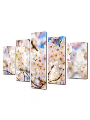 Set Tablouri Multicanvas 5 Piese Peisaj Crengute cu flori