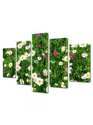 Set Tablouri Multicanvas 5 Piese Peisaj Flori diverse