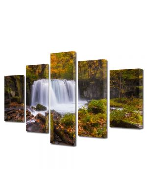 Set Tablouri Multicanvas 5 Piese Peisaj Cascada zgomotoasa