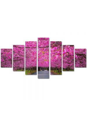 Set Tablouri Multicanvas 7 Piese Peisaj Ciresi japonezi infloriti