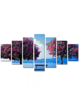 Set Tablouri Multicanvas 7 Piese Peisaj Doi Copaci si o banca