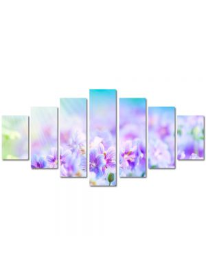 Set Tablouri Multicanvas 7 Piese Peisaj Flori violet