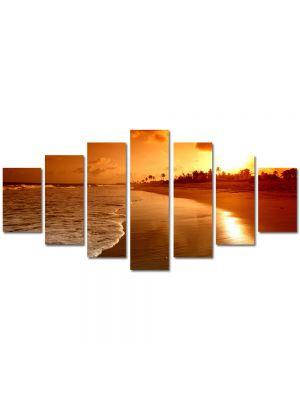 Set Tablouri Multicanvas 7 Piese Peisaj Plaja la apus