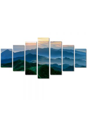 Set Tablouri Multicanvas 7 Piese Peisaj Munti verzi