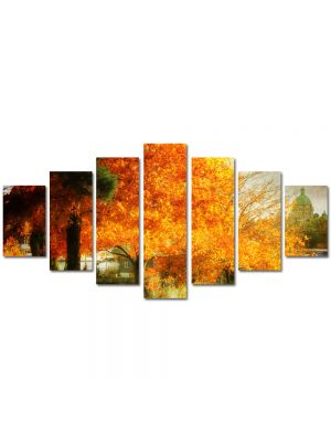 Set Tablouri Multicanvas 7 Piese Peisaj Copac galben