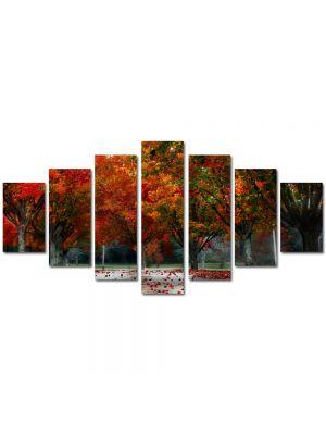 Set Tablouri Multicanvas 7 Piese Peisaj Rosu puternic