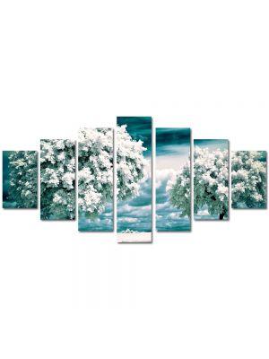 Set Tablouri Multicanvas 7 Piese Peisaj Copaci albi