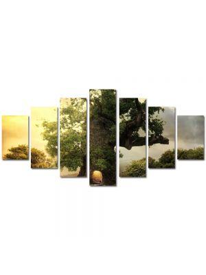 Set Tablouri Multicanvas 7 Piese Peisaj Casa in copac