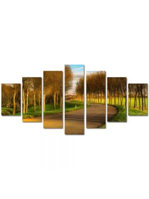 Set Tablouri Multicanvas 7 Piese Peisaj Drum printre puieti
