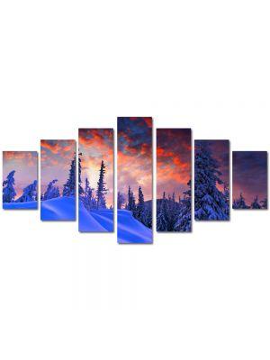 Set Tablouri Multicanvas 7 Piese Peisaj Rosu cerului