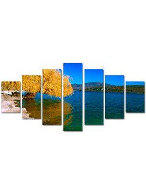 Set Tablouri Multicanvas 7 Piese Peisaj Salcie de toamna