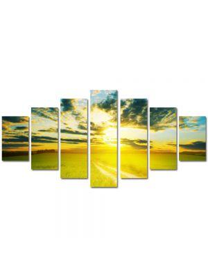 Set Tablouri Multicanvas 7 Piese Peisaj Apus peste drum
