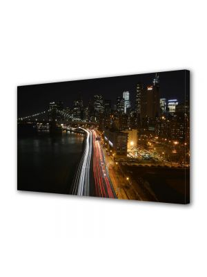 Tablou Canvas Trafic in New york noaptea