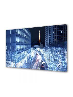 Tablou Canvas Luminos in intuneric VarioView LED Urban Orase Lumini albastre in Tokyo