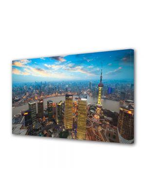 Tablou VarioView MoonLight Fosforescent Luminos in Urban Orase Apus in Shanghai China