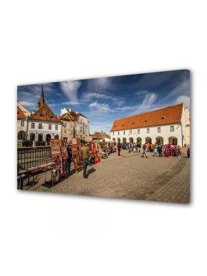 Tablou Canvas Luminos in intuneric VarioView LED Urban Orase Piata Mica din Sibiu