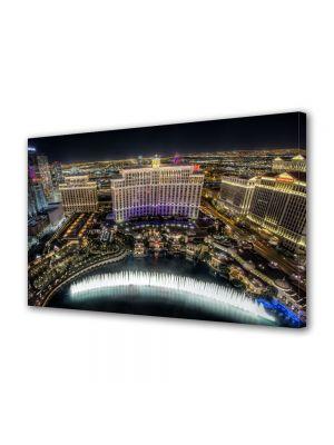 Tablou Canvas Luminos in intuneric VarioView LED Urban Orase Fantani la Bellagio Las Vegas