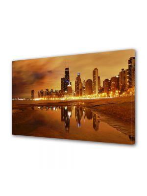 Tablou VarioView MoonLight Fosforescent Luminos in Urban Orase Apus in Chicago USA